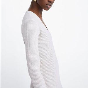 Zara Dresses - Zara Ribbed V Neck Beige Midi Long Sleeve Dress